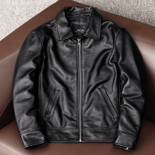 Genuine-Leather Coat.dad's Cowhide Jacket.plus-Size New Black YR
