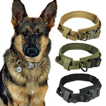 Collare di cane di Nylon Regolabile Tattico Militare Collari Per Cani di Controllo Maniglia di Addestramento Dell'animale Domestico del Cane Del Gatto Collare Prodotti per animali domestici