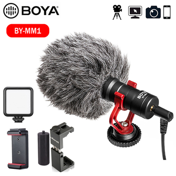 BOYA BY-MM1 Video Record Microphone for DSLR Camera Smartphone Osmo Pocket Youtube Vlogging Mic for iPhone/Android Mobile phone boya by m1 m1dm by mm1 dual omni directional lavalier microphone short gun video mic for canon nikon iphone smartphones camera