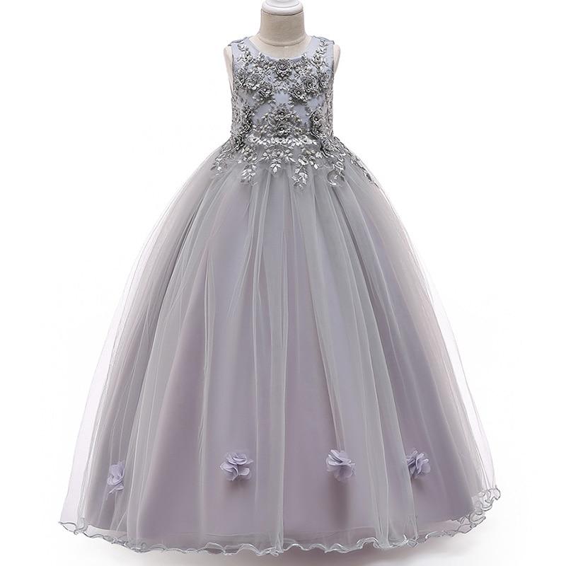 2019 Girls Evening Dress Children Clothing Flower Kids Dress For Wedding First Communion Ball Gown Dress Costume Vestidos