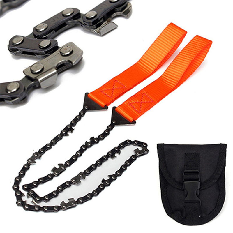 1PCS 65cm EDC Outdoor Stainless Steel Gear Pocket String Wire Saw Carbon Ring Scroll Camping Survival Tool Hand Rope Chain Saws