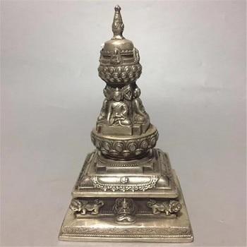 Buddhism Tower Feng Shui Bronze Collection Four Face Buddha Statue Tibet Silver Tibetan Pagoda Decoration