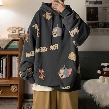 Cartoon Printed Oversized Hoodies Women Harajuku Pullover Casual Fashion Kawaii Unisex Sweatshirts Female Hoodie Winter 2021 New 1