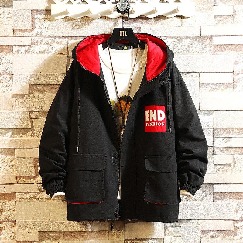 2019 Autumn And Winter Japanese-style Hooded Workwear Jacket Youth Stereo Pocket Washed Cotton Large Size Casual Coat Fashion