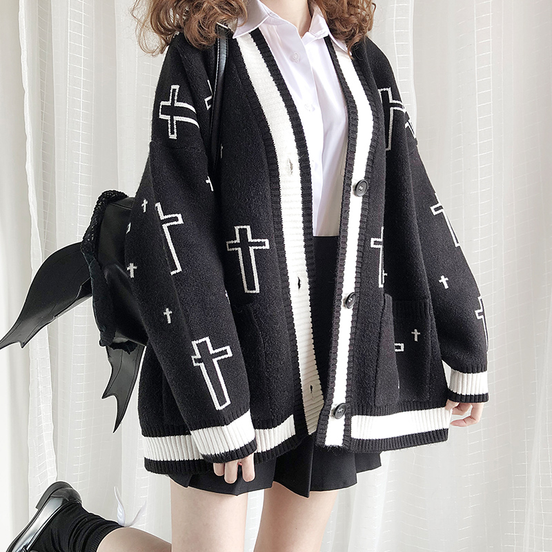 Gothic Punk Lolita Cross-shaped Embroidery Knitted Sweater Coat Japanese Style Street Autumn Winter Women Thick Cardigan Outwear