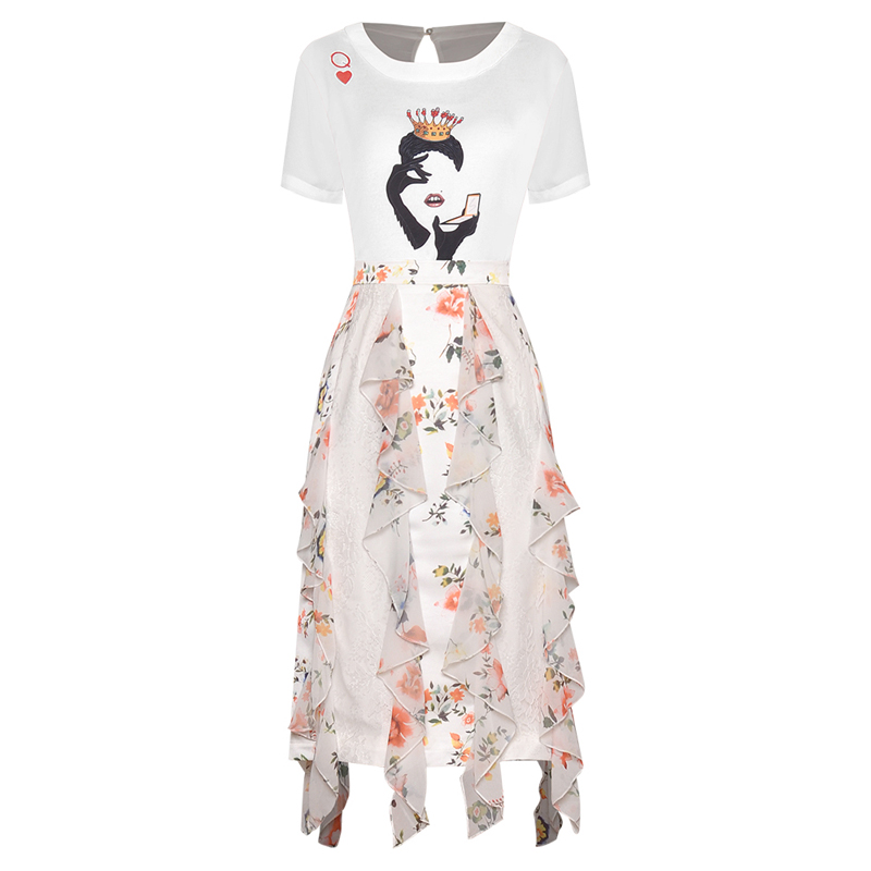 HIGH QUALITY New Fashion 2020 Runway Suit Set Women's T-Shirt Top Lace Ruffles Floral Skirt Set