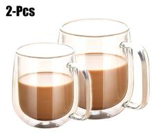 2Pcs Double Wall Heat-Resistant Couple Lovers Coffee Mugs Brief Glass Insulated Milk Tea Cups Drink Drinking Utensils