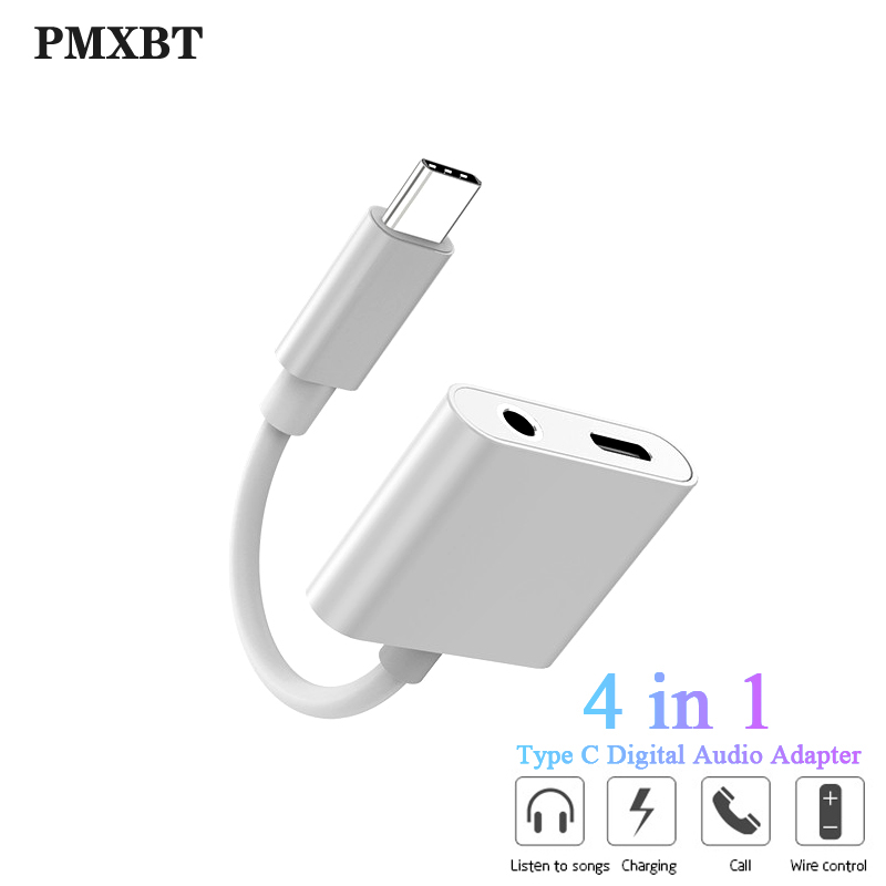 USB C Aux Audio Adapter For Samsung S9 Huawei Xiaomi Type C Port Charging And 3.5mm Jack Splitter USBC Adaptador Support HD Call|Phone Adapters & Converters| |  - title=