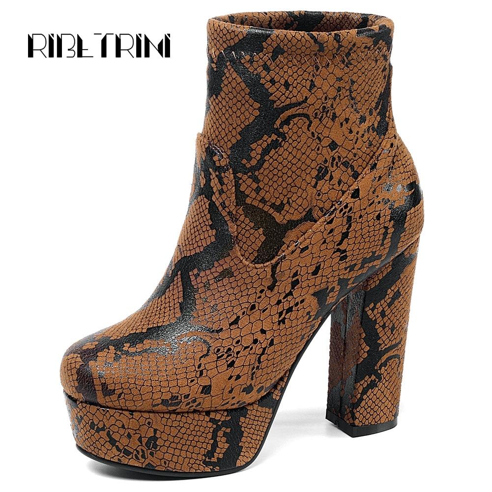Ritrahini peau de serpent mode chaussures pour femme Chunky talons hauts plate-forme automne chaussures femme parti bureau haut haut bottines