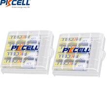 8 Uds PKCELL AAA pilas recargables aaa   1,2 V NIMH AAA 1200mAh batería + 2 uds soporte caja batería para pilas AAA AA