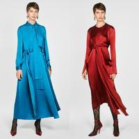11.11 2019 Newness Fashion ZA Maxi Dress Women Autumn Clothing Casual Elegant Solid Long Dress Female Party Dress Wholesale