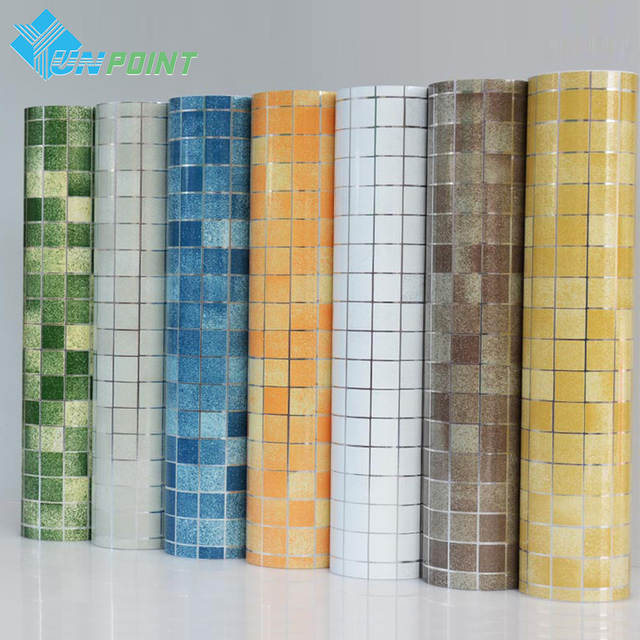 Us 8 59 33 Off Bathroom Wall Stickers Pvc Mosaic Wallpaper Kitchen Waterproof Tile Plastic Vinyl Self Adhesive Papers Home Decor In