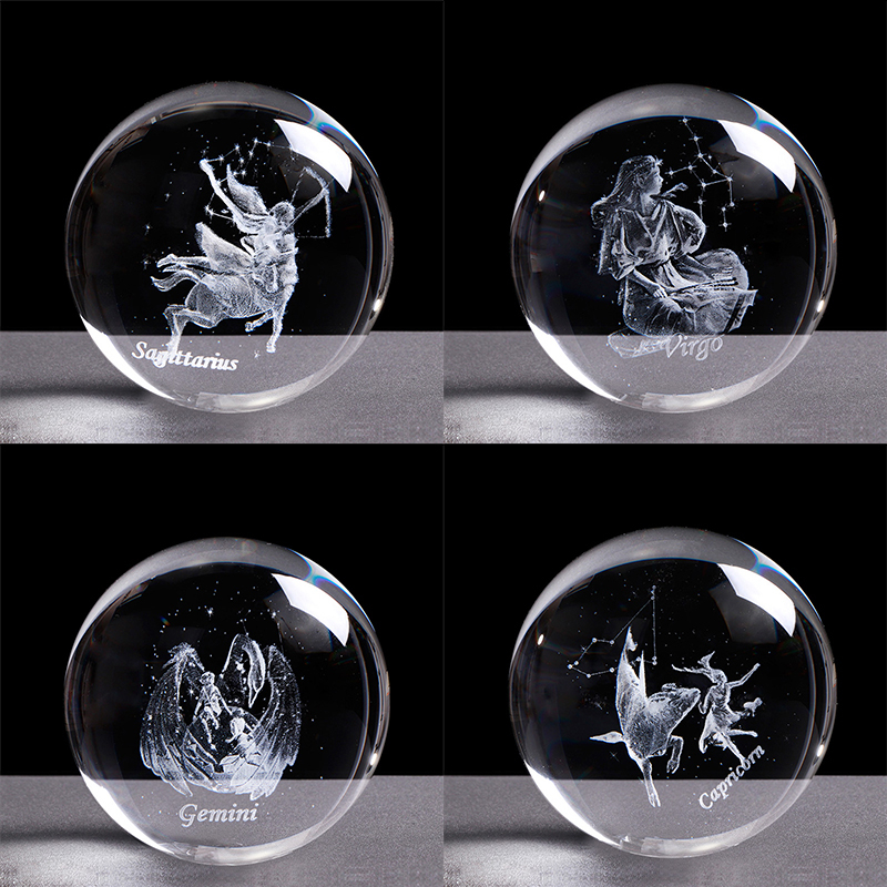 3D 12 Constellations Crystal Ball Zodiac Sign Engraved Glass Ball 60/80mm Crystal Sphere Birthday Gift Divination Decor Ornament