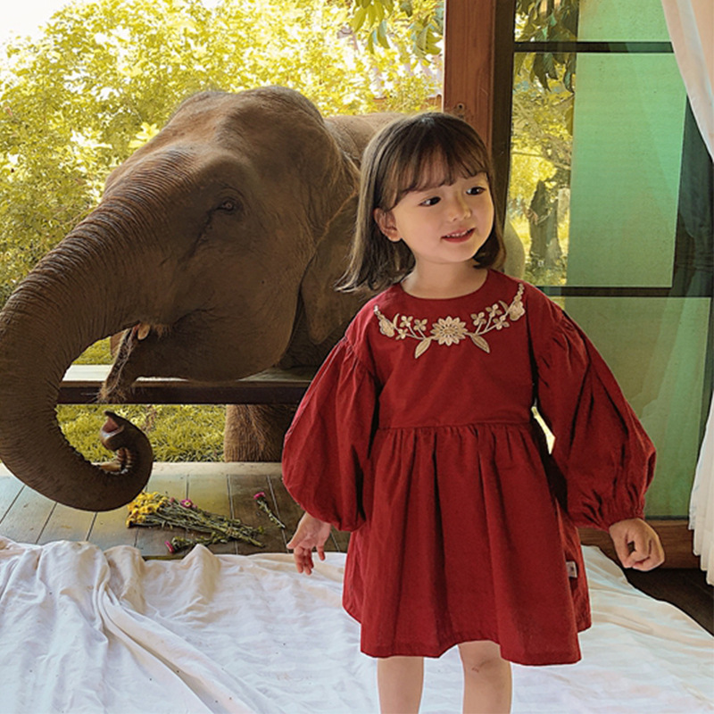 Children's Red Dress For Girls 2020 New Spring And Autumn Children's Embroidered Baby Shirt Dress Baby Girl Clothes