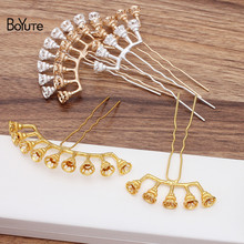 BoYuTe venta al por mayor (5 unids/lote) palillo de pelo con flor de aleación de Metal Tiara Vintage Diy accesorios de joyería para el cabello de la Boda nupcial