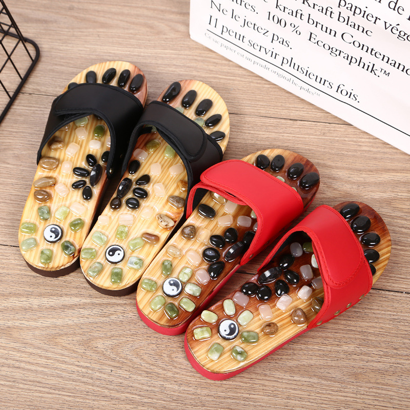 Natural Cobble Jade Magnet Agate Stone Plantar Acupoint Massage Slippers