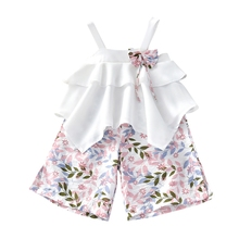 New Hot 2 Pcs Kids Baby Girls Summer Outfits Lace Tops Floral Shorts Skirt Clothes Sets Fashion Children Kid Girl Cute Clothing little girls clothing set kids winter clothes 3 pcs baby girls suits fashion 2018 warm children sets for girl boutique outfits