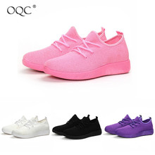 Купить с кэшбэком OQC New Flying Woven Candy Multicolor Female Mesh Sneakers Casual Fitness Sports Lightweight Breathable Soft Sports Shoes D30