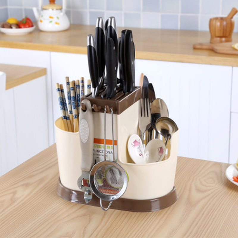 Chef Knife Bag Multifunction Knife Holder Plastic Block Bar Dividing Grid Barrel Chopsticks Cage Cutlery Holder Stand For Knives