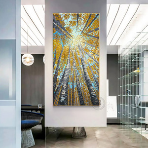 Image 4 - Large Vertical modern painting decorative pictures abstract art acrylic landscape painting canvas pictures for living room wall