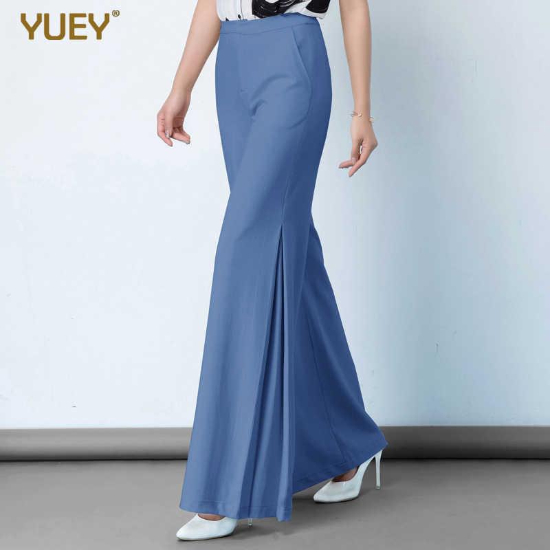 Yuey verão novas calças femininas cáqui preto azul grande tamanho de cintura alta ampla perna calças femininas lado divide algodão moda