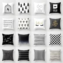 Funda para cojín blanco y negro geométrico de poliéster fundas decorativas para almohadas 45x45cm cojines para sofá funda nórdica de moda