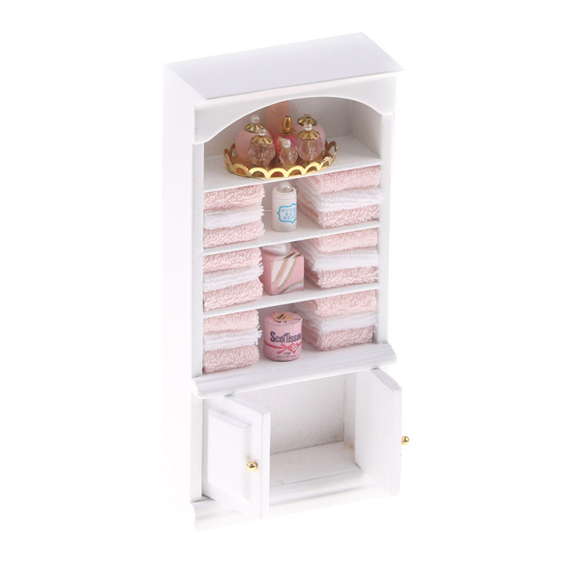 1:12 Doll House Wooden Living Room Bookcase Mini Diy Cabinet Bookcase And Bathroom Cabinet Modern White Doll House Wooden Living