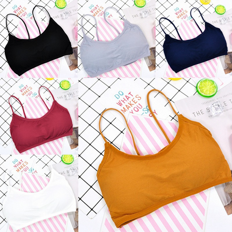 Womens Fitness Bra Shoulder Straps With Stripes Soft Bra Girls Breathable Sexy Push Up High Impact Running Gym Top Wireless