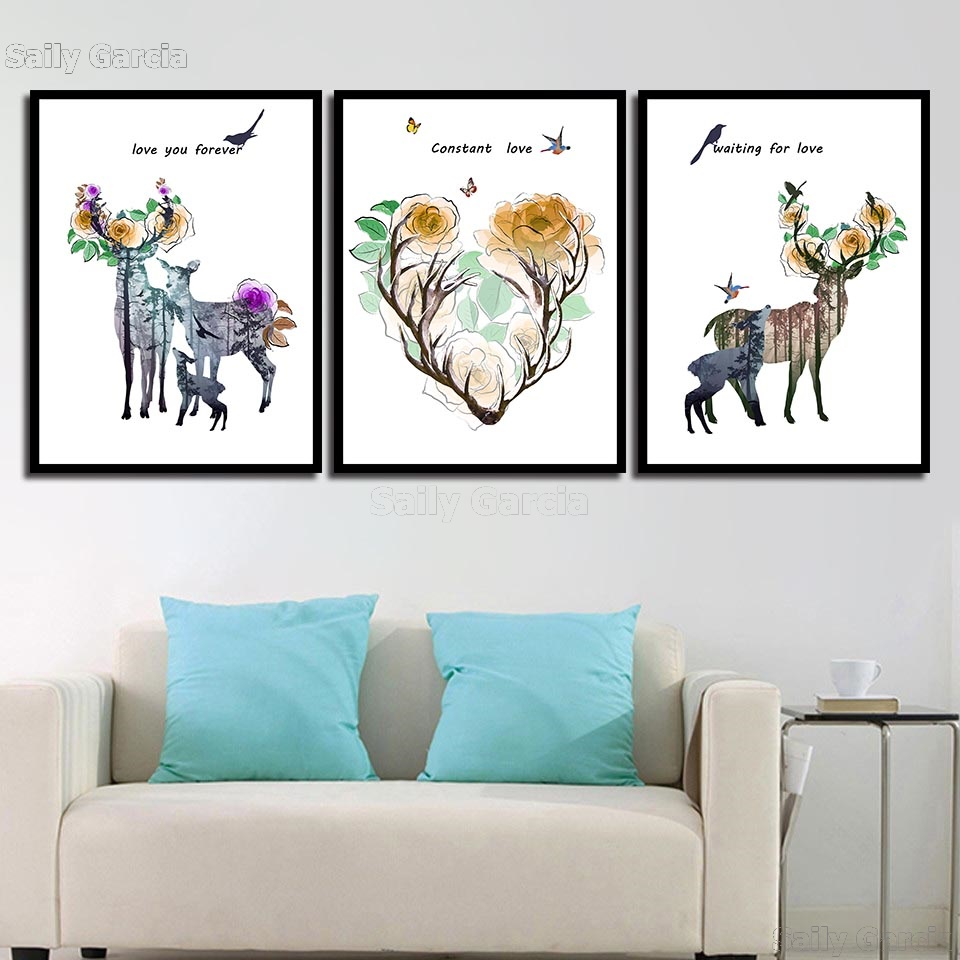 Home-Decoration-Prints-Painting-Nordic-Pictures-Deer-Flower-Letter-Wall-Art-Modular-Canvas-Poster-Modern-For