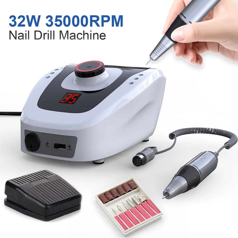 Electric Nail Drill Machine 32W 35000RPM Nail Art Equipment Manicure Machine Accessory Electric Nail File Nail Drill Bit Tool