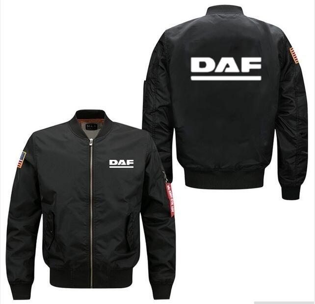 2020 New Men's Flight Jacket Bomber Woolliner Print DAF Fastest Speed Of Transportation Plus Size