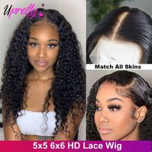 6x6 5x5 HD Lace Closure Wig Deep Wave Lace Frontal Wig 200 250 Density Curly Lace Front Human Hair Wigs HD Transparent Lace Wig