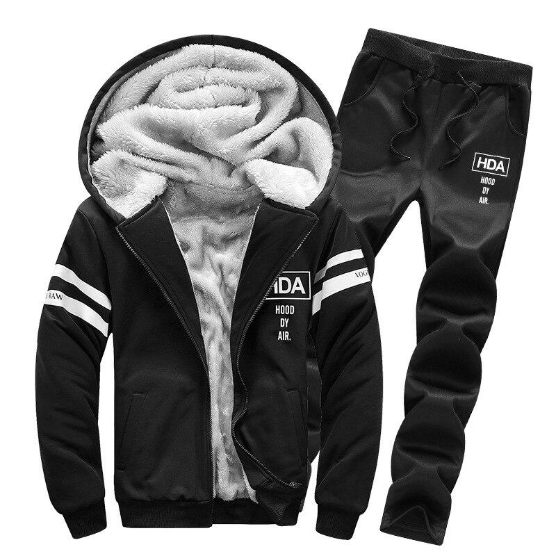 2019 Winter Plus Velvet Casual Hoodie Suit Men's Hooded Warm Two-Piece Set