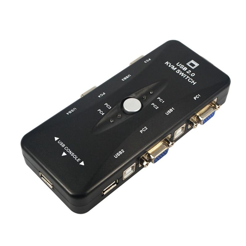 USB KVM 4 Ports Selector VGA Print Auto Switch Moniter Box VGA Splitter V322 USB 2.0 KVM Switch With 4pcs VGA Cable