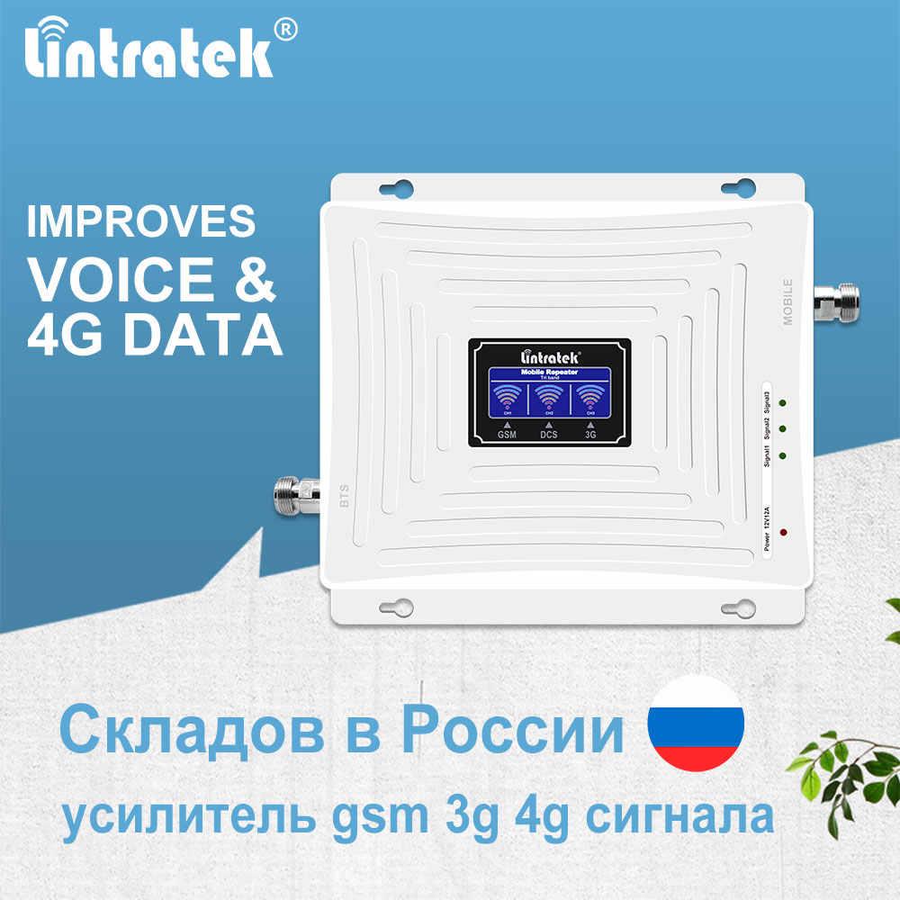 Lintratek 900mhz 1800mhz 2100mhz impulsionador de sinal 2g 3g 4g gsm dcs wcdma lte repetidor de sinal de telefone móvel conjunto de amplificador de banda tri-