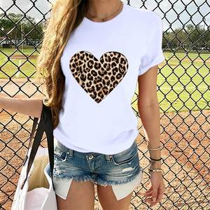 White Tops Tshirt Camisas Short-Sleeve Loose Heart-Print Leopard Mujer Plus-Size Casual
