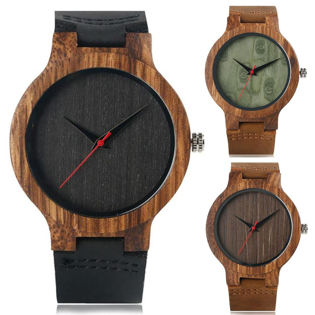 2019 New Fashion Watch Men Women Wood Round Dial Faux Leather Strap No Number  Casual Analog Quartz Wrist Watch Montre Homme