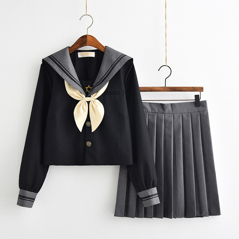 School Dresses Large-Size S-5XL Anime Form College Middle High School Jk Uniform With Tie Pleated Skirt Sailor Suit For Girls