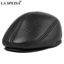 La spezia inverno tampões planos boina homem preto quente duckbill chapéu ivy masculino earflaps mais grosso couro genuíno sólido clássico condução boné