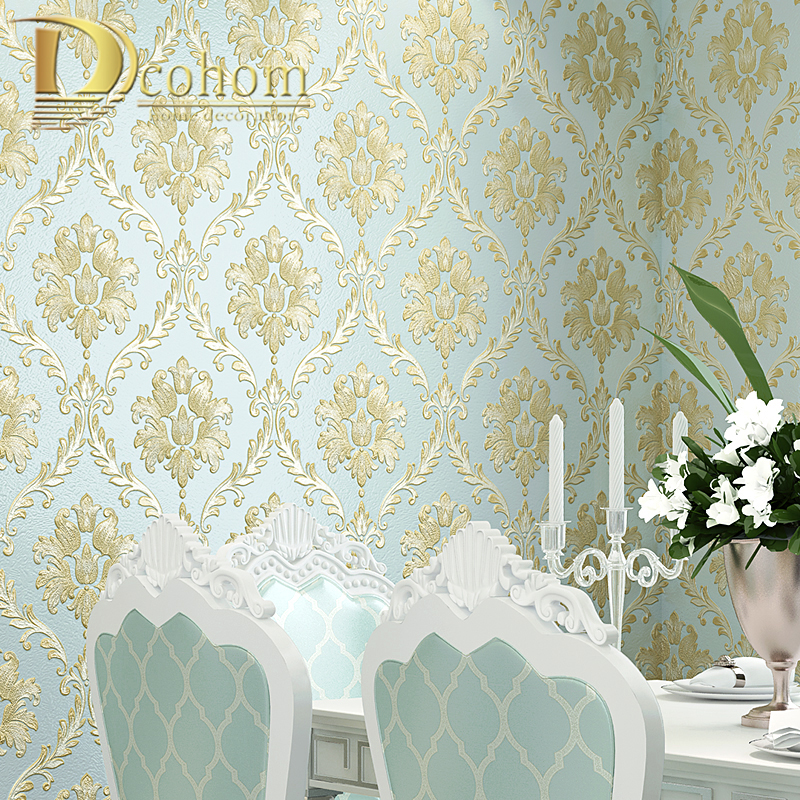 Wallpaper Green Teal rustic wall coverings textured vintage Egypt damask roll 3D