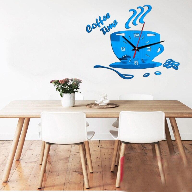 Creative DIY Acrylic Mirror Wall Clock Simple Home Decoration Mute Coffee Cup Quartz Wall Clocks Kitchen Dining Room Decor