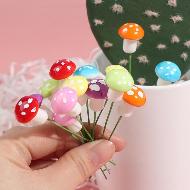 1/10/60pcs Multi-colored Foam Mushrooms Miniatures For Fairy Garden DIY Bottle Landscape Decorative Mushroom Figure Decorative