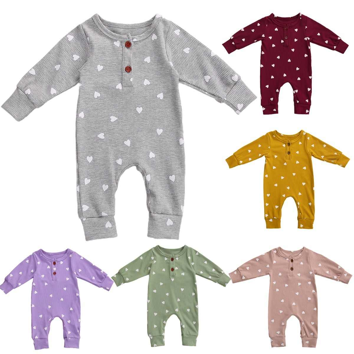 Cotton Newborn Baby Rompers Clothes Long Sleeve Jumpsuit Autumn Fresh Heart Print Buttons One Piece Kids Baby Girls Boys Outfits