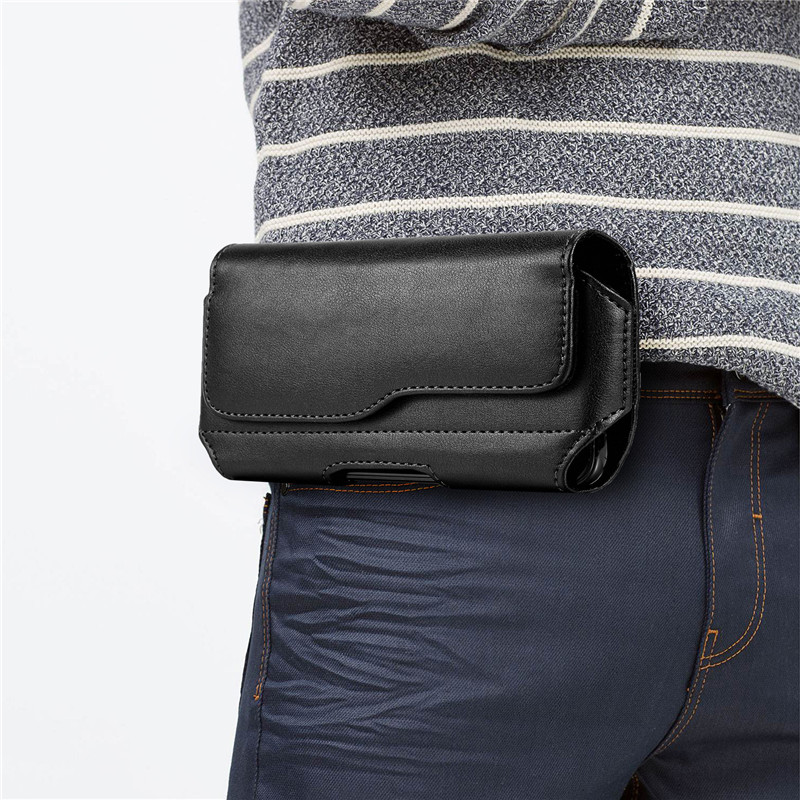Casual Phone Pouch Hanging Waist Bag Black Classic Belt Clip Pouch Case For Samsung For Huawei Mobile Waist Bag Belt Small Purse