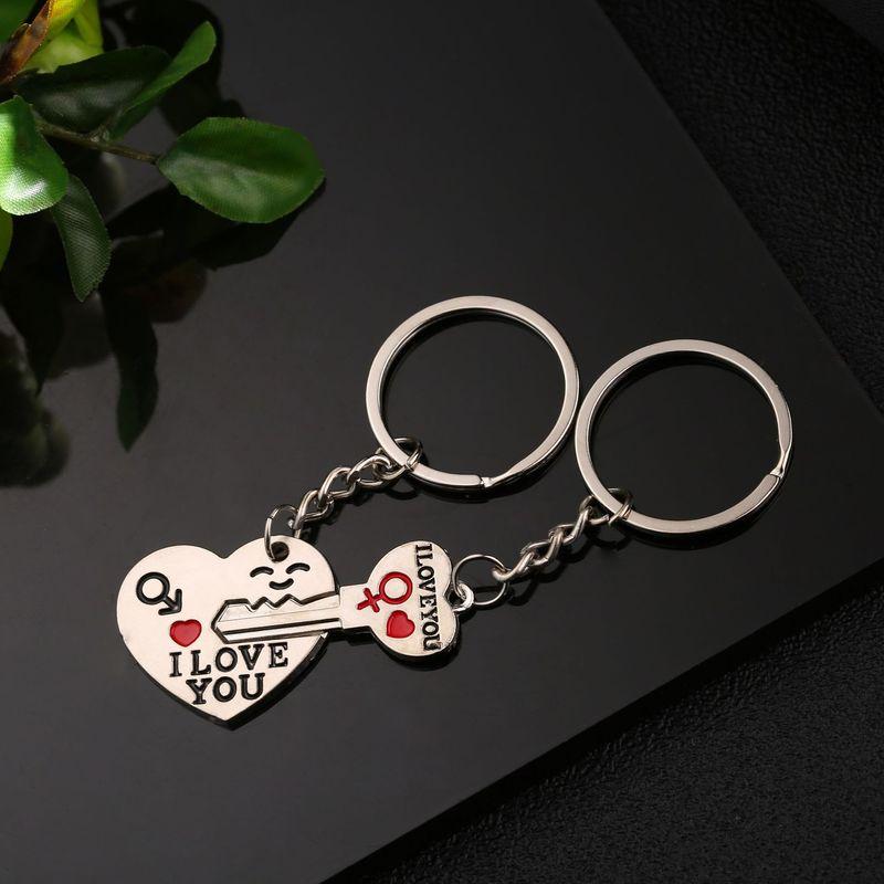 1Set regalos del Día de San Valentín pareja te amo carta clave cadena llavero de corazón plateado amantes amor clave Cadena, regalo de aniversario