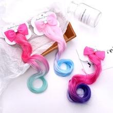 Children's Fashion Color Bow Wig Hairpins Korea Girl Princess Hair Clip Cute Baby Duckbill Clip Headwear Kids Hair Accessories bow style wig decorative hair clip golden l