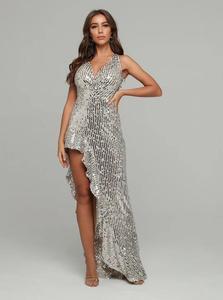 Image 5 - فستان نسائي مثير بياقة على شكل V مع ترتر مكشكش للحفلات فستان طويل للسهرات بتصميم للسيدات