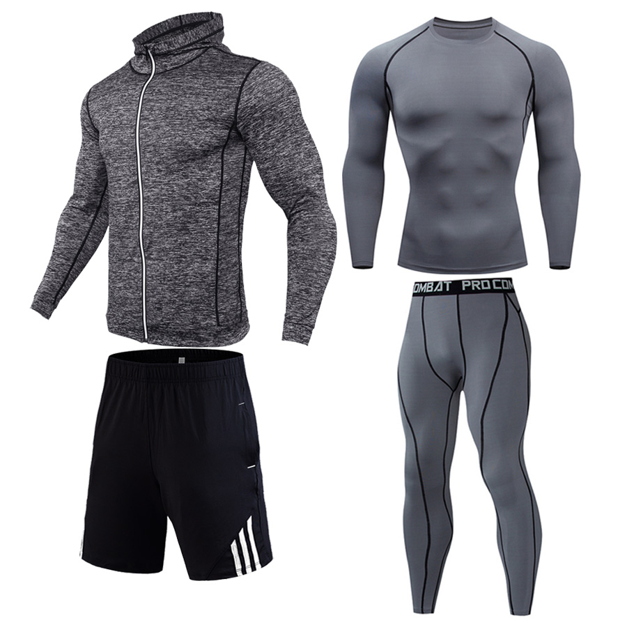 Men's Compression Suit Running Tights 4 Piece Suit Gym Clothing Cycling Tracksuit Base Layer Sport Hoodie Fitness Training Kit