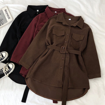 Corduroy Long Sleeve Dress Women Solid Buttons Pockets Turn-down Collar Simple Elegant Sashes All-match Womens Vintage Harajuku 2