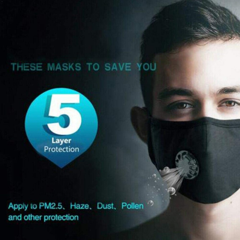 5 Layers Protection Face Mask Cover Respirator Anti-Dust PM2.5 Mask + 2Filters Activated Carbon Mouth-muffle Healthy Masks